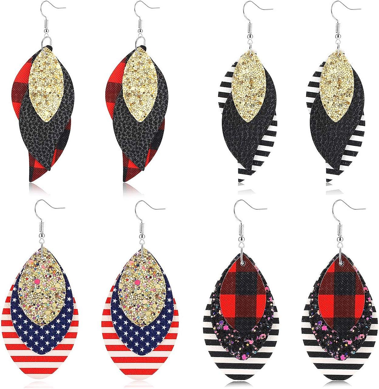 Drop Earrings Red and Black Earrings Round Earrings Leather Dangle Earrings Circle Earrings