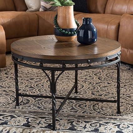 Superbe Baxton Studio Austin Vintage Industrial Antique Bronze Round Coffee  Cocktail Occasional Table