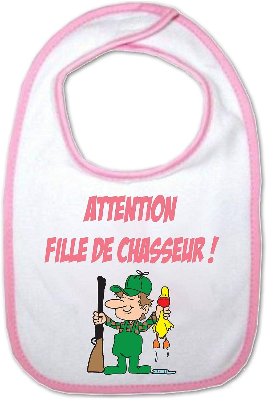 Humour Bavoir Rose B/éb/é Attention fille de Chasseur Yonacrea