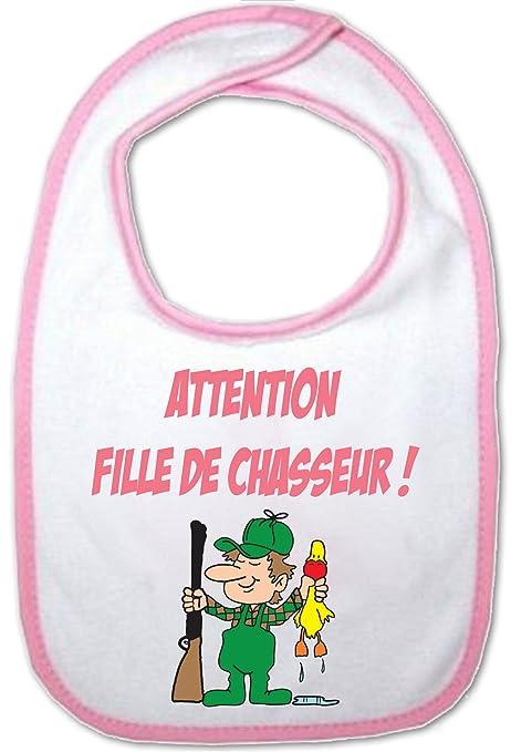 Yonacrea - Bavoir Rose Bébé - Attention fille de Chasseur ...