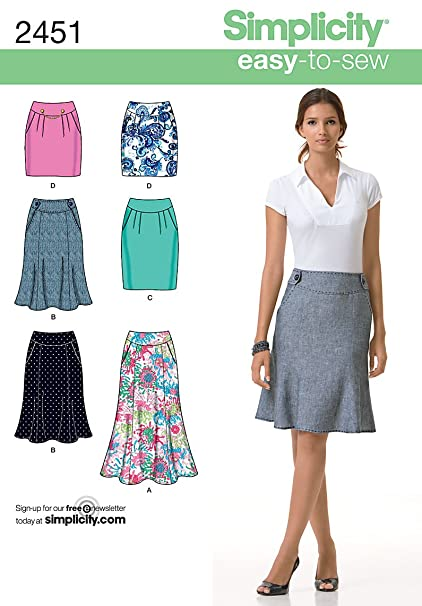 Amazon Simplicity Easy To Sew Pattern 2451 Misses Skirts Each