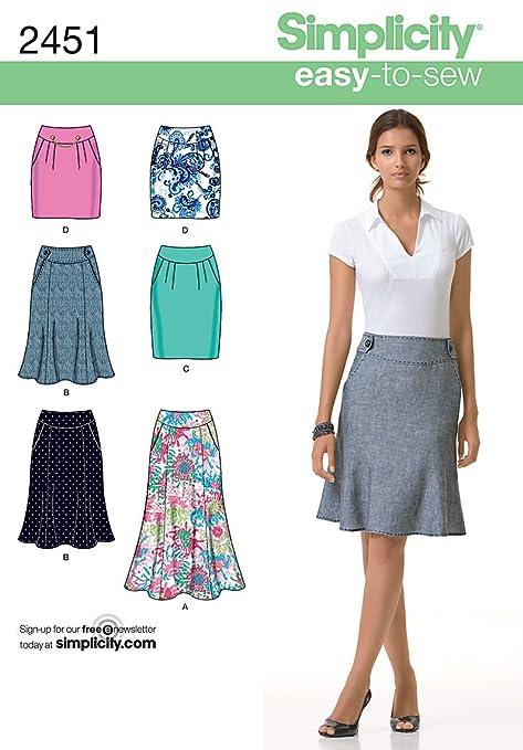 Simplicity P5 2451 - Patrones de costura para faldas de mujer ...