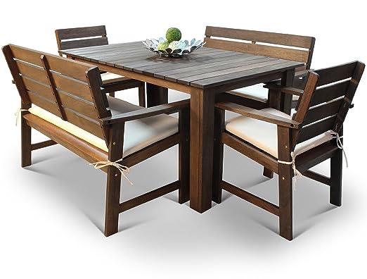Amazon De Hgg Shorea Hartholz Tisch Banke Und Stuhle 6 Gartenmobel