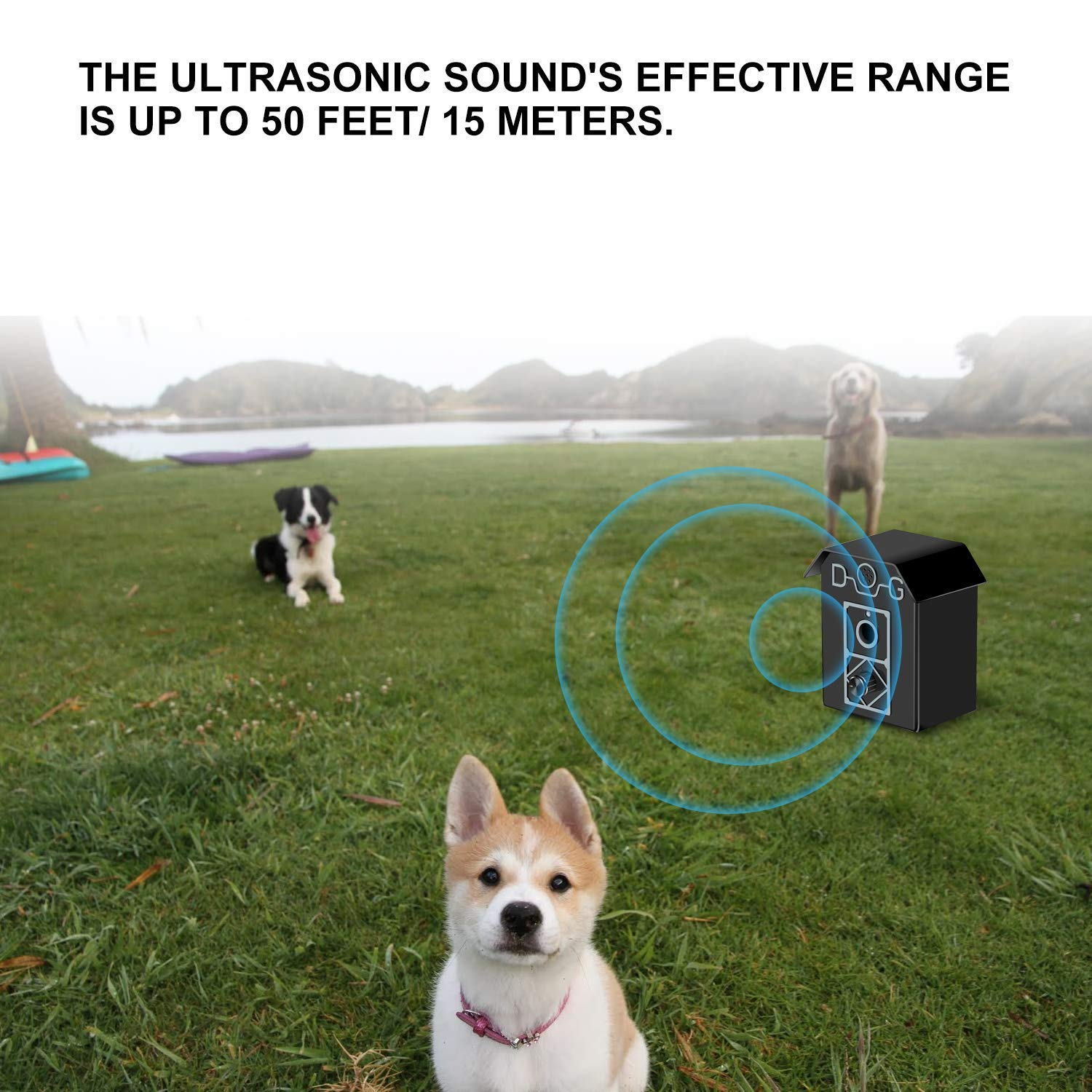 Dog Bark Control 50 FT Range Stop Barking Device, Ultrasonic Anti-Bark Device, Safe for All Dogs, Indoor & Outdoor Use, Dog Training Tool and Sonic Bark Deterrents Device Let Stop Barking Dogs