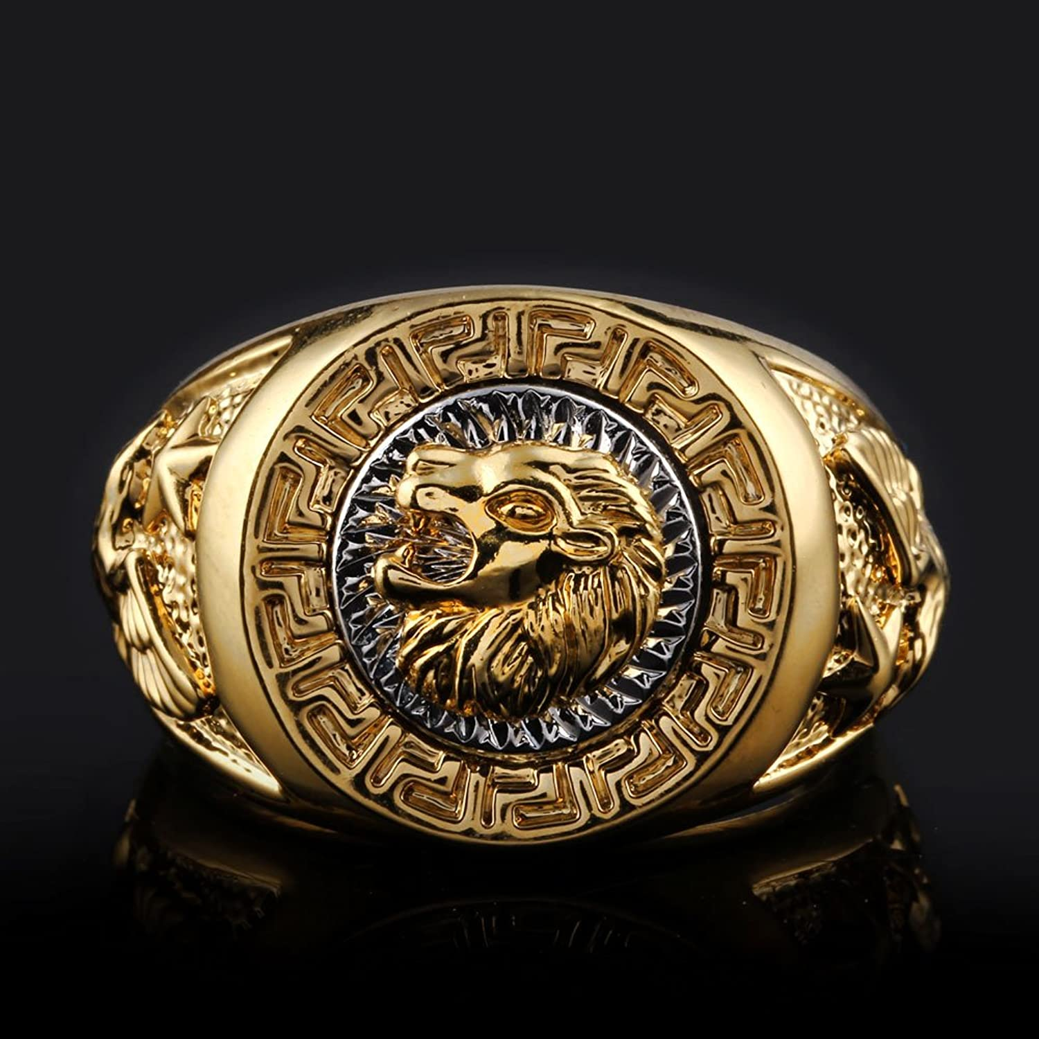 Amazon.com: ANDI ROSE Fashion Men 18K Gold GP Cool Lion Eagle Star ...
