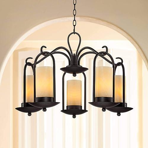 Espresso Indoor Outdoor Chandelier Lighting 30″ Wide Onyx Faux Stone Candles Glass 5-Light Fixture