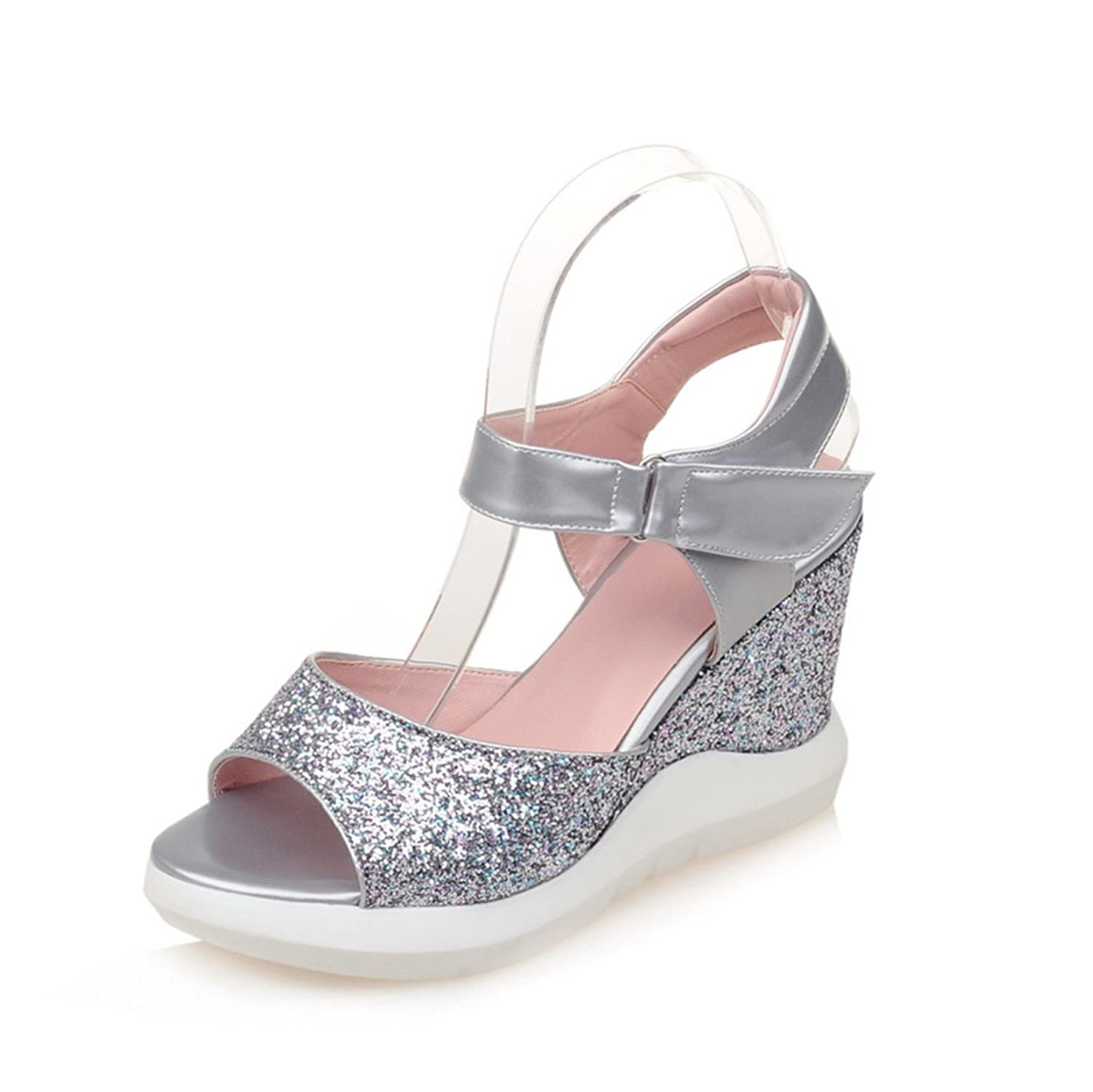 Esthesis High Heel Slippers Summer Platform Wedge Sandals Sequin Women Casual Sandals Comfort  3|Silber