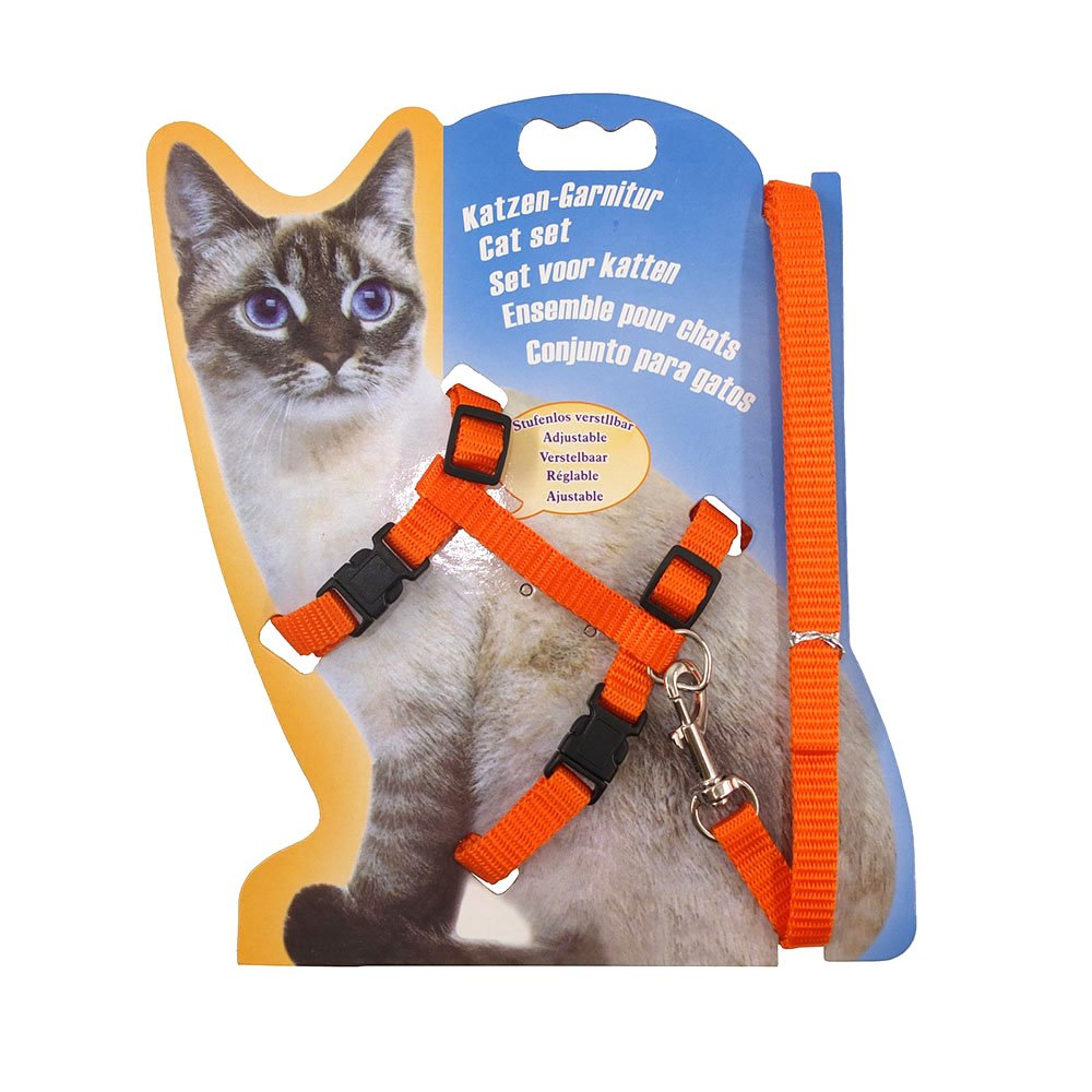Pet Supplies : Rella Home Cat Harness and Leash Adjustable Nylon Halter Harness Kitten Nylon Strap Belt Safety Rope Leads (Orange) : Amazon.com