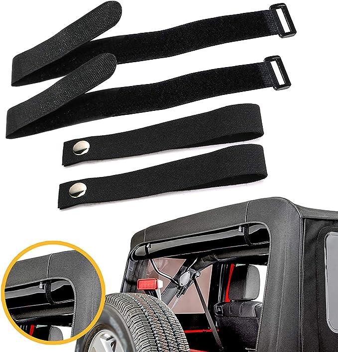 4PCS BUPP Rear Window Straps for Jeep Wrangler Jk Jku Soft Top Straps Tiedown Straps Adjustable Straps