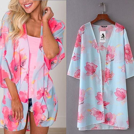 DEELIN Flores De Verano para Mujer ChifóN Kimono Cardigan Blusa Blusas Tops Chaquetas: Amazon.es: Ropa y accesorios