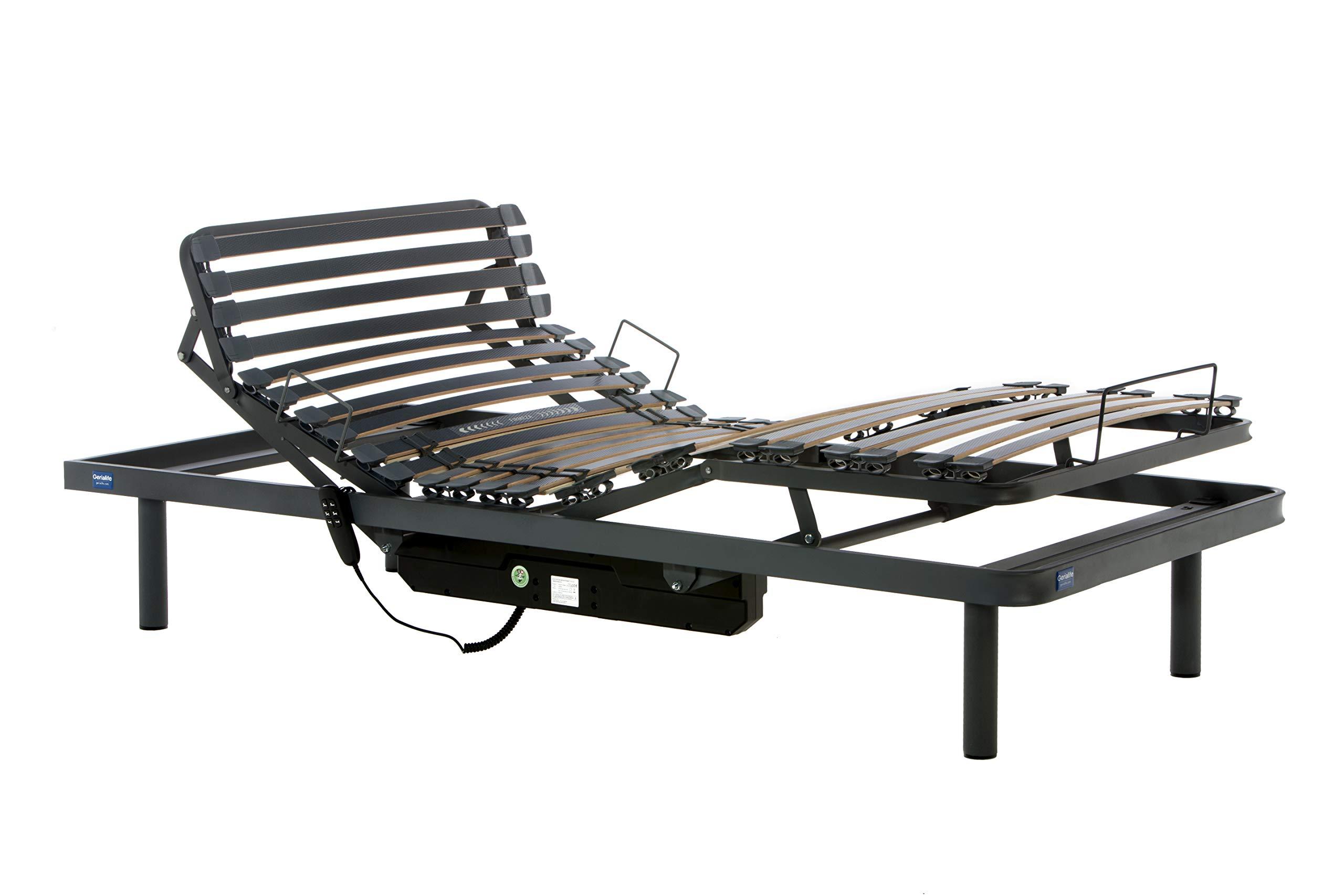 Gerialife® Cama Articulada Eléctrica Reforzada (90x190, Gris Grafito)