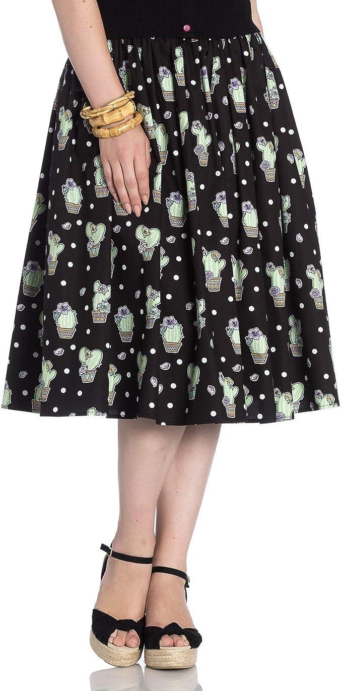 Hell Bunny Cactus Lunares Años 50 Estilo Falda - Negro, UK 16 (XL ...