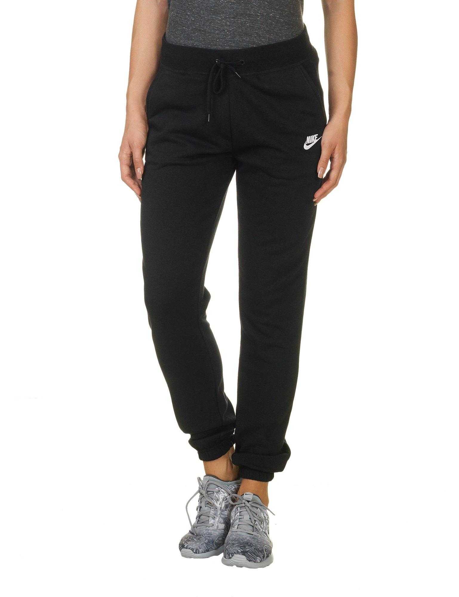 NIKE Women's Sportswear Regular Fleece Pants, Black/Black/White, Medium Tall