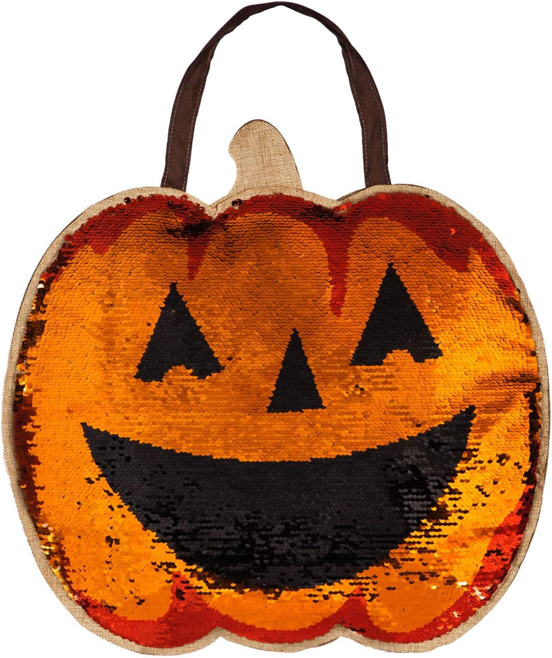 Evergreen Flag Beautiful Reversible Sequin Pumpkin and Jack-O-Lantern Hanging Door Décor - 17 x 1 x 17 Inches Fade and Weather Resistant Outdoor Decoration for Homes, Yards and Gardens