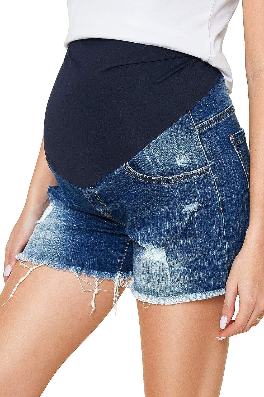 Damen Jeansshorts Strecken Umstandsshorts mit Bauchband f/ür Sommer Hotpants