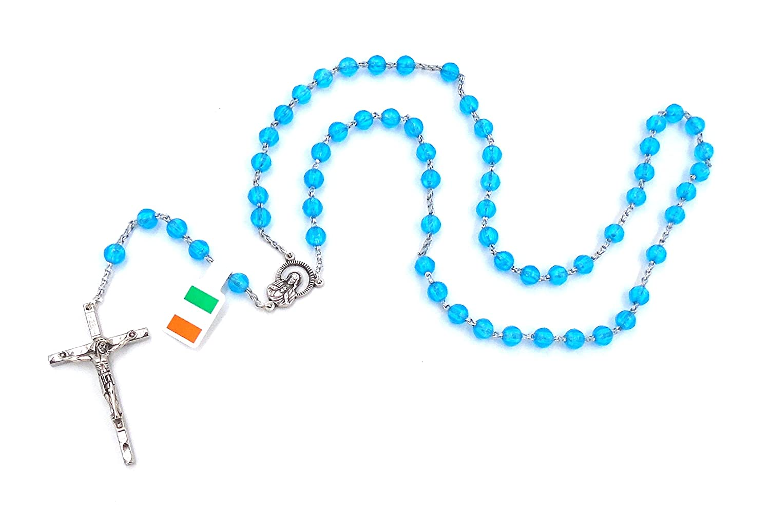 """First Holy Communion"" Light Blue Bead Rosary by J.C. Walsh & Sons- Made In Ireland"