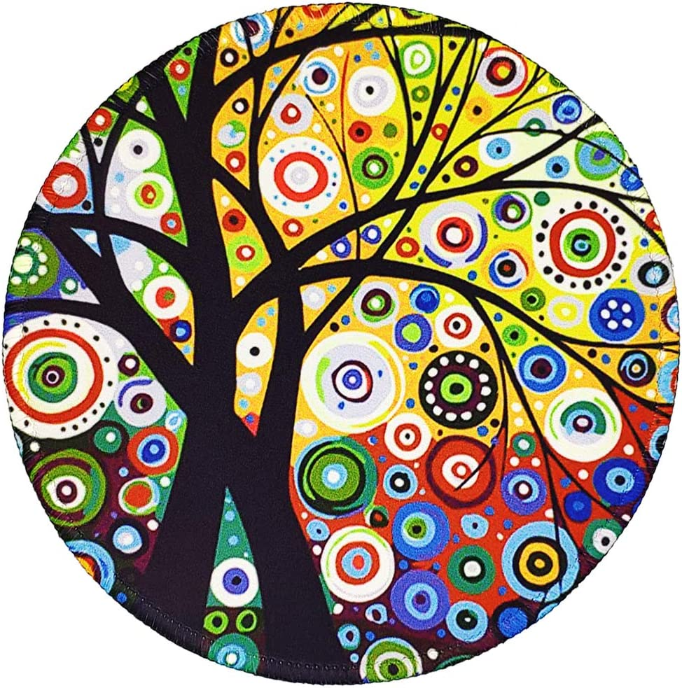 BOSOBO Mouse Pad, Round Mouse Pad Tree of Life, Small Mouse pad with Designs, Custom Mouse Mat with Stitched Edges, Pretty Mousepad for Girls Women Office Home Desktop Computer Laptop, 7.9 x 7.9 Inch