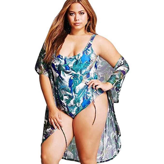 dcf093bf04665 Womens Plus Size Halter Tankini, Ladies One Piece Push Up Floral Printed  Cover Up Swimsuit