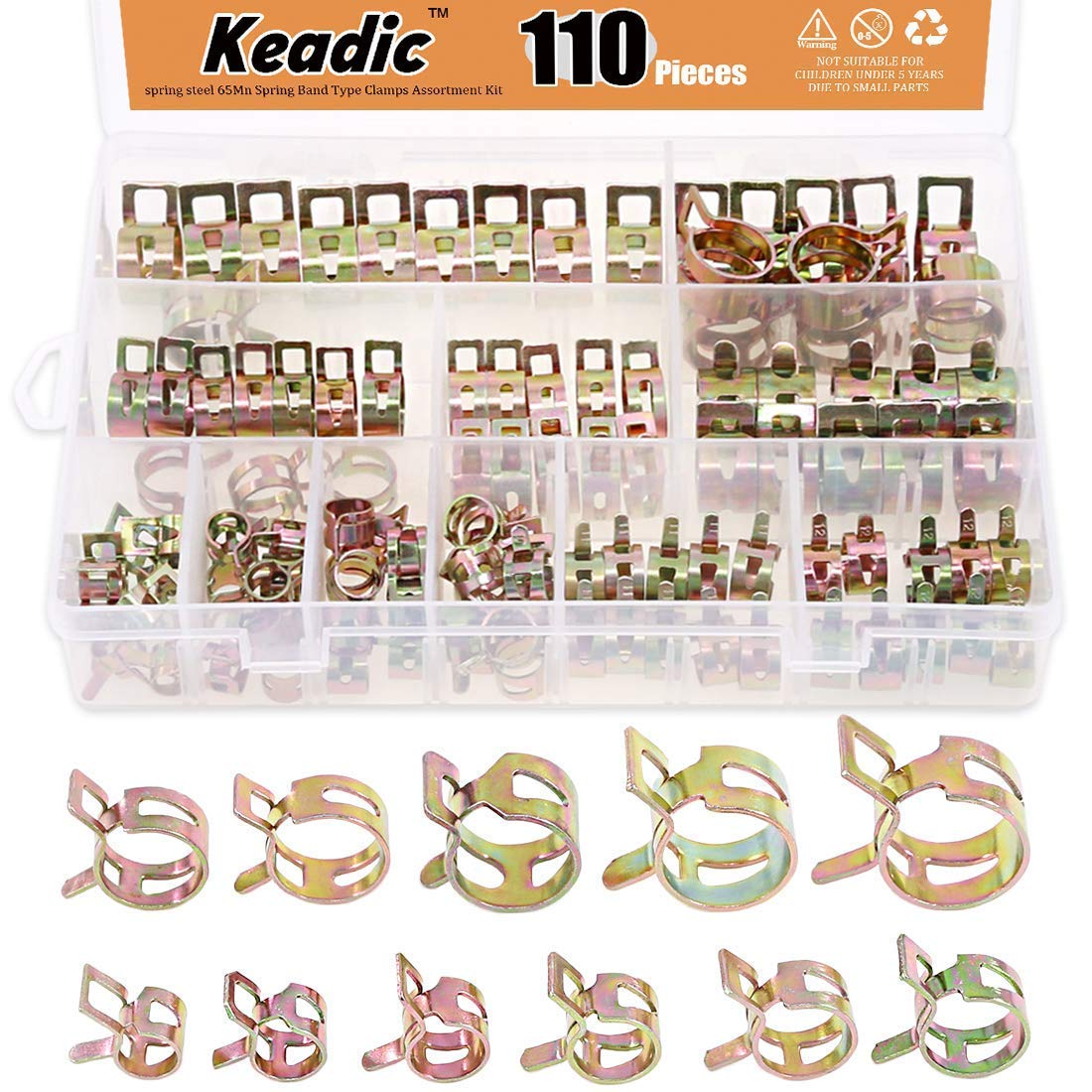 Keadic 110Pcs [ 11 Size ] 7mm to 17mm Spring Hose Clamp Vacuum Clamp Spring Band Type Clamps Action Fuel/Silicone Vacuum Hose Pipe Clamp Low Pressure Air Clip Clamps Fasteners Assortment Kit