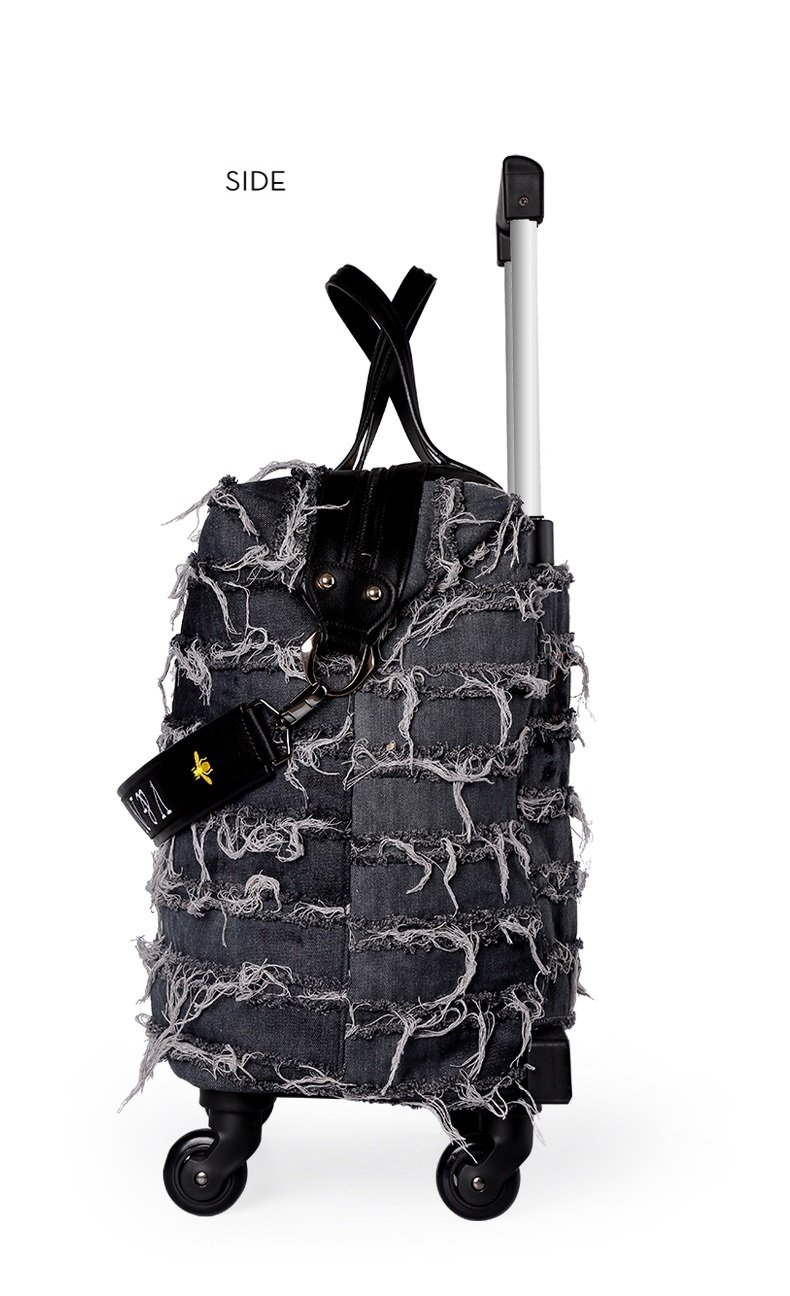 18 inch Fashion Wheeled Rolling Tote Garment Bag denim suitcase travel Luggage for women girls Dark grey