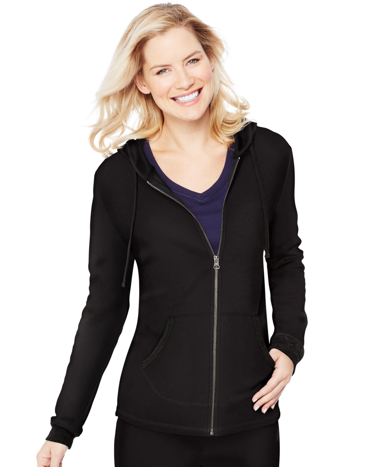 Hanes Women's French Terry Full-Zip Hoodie, Black, Large