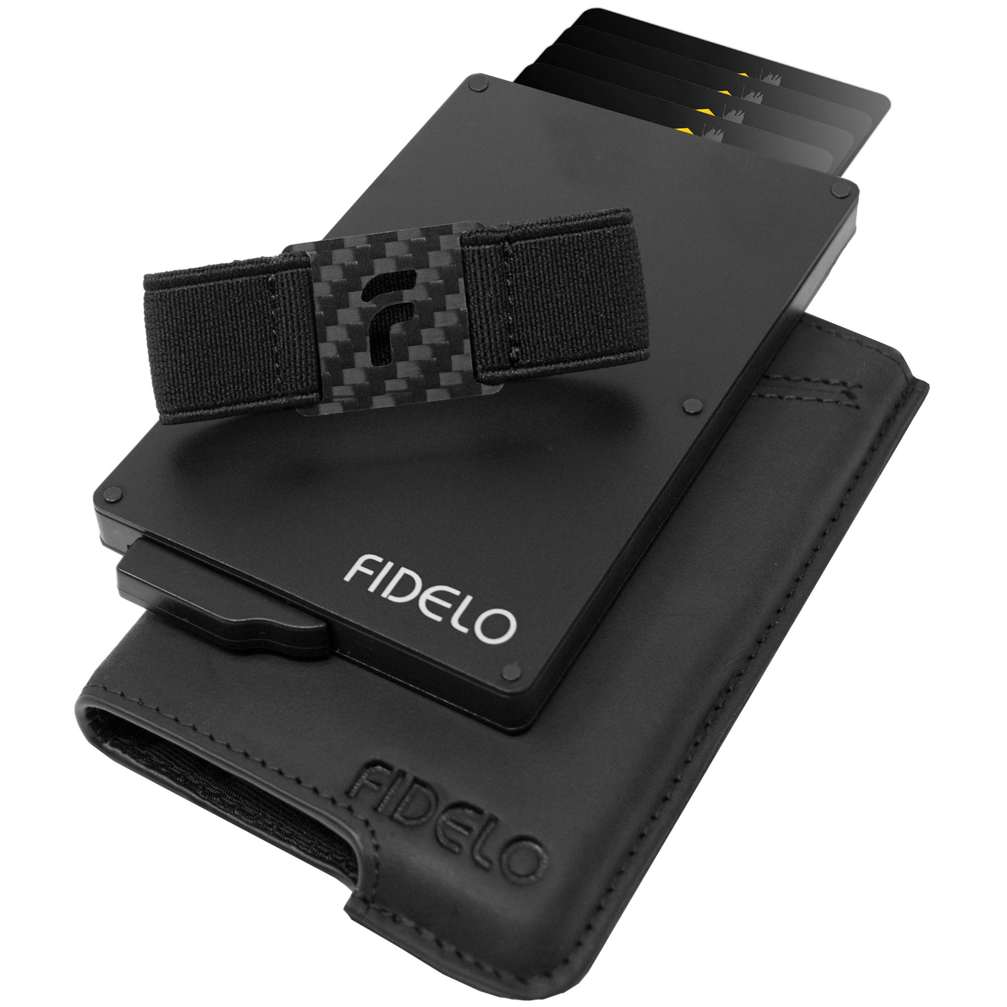 FIDELO Minimalist Wallet for Men - Slim Credit Card Holder RFID Mens Wallets and Leather Case by FIDELO