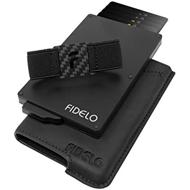 0860895b28bfc9 FIDELO Minimalist Wallet for Men - Slim Credit Card Holder RFID Mens ...