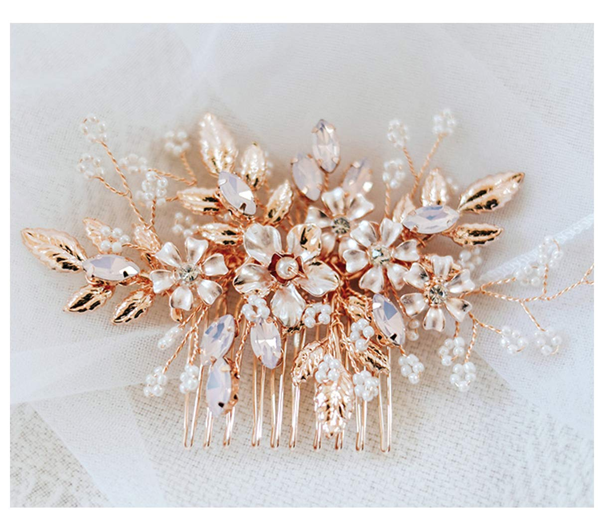 Amazon Com Sweetv Rose Gold Wedding Hair Comb Bridal Hair Accessories Flower Hair Clip Comb Head Pieces For Women Beauty