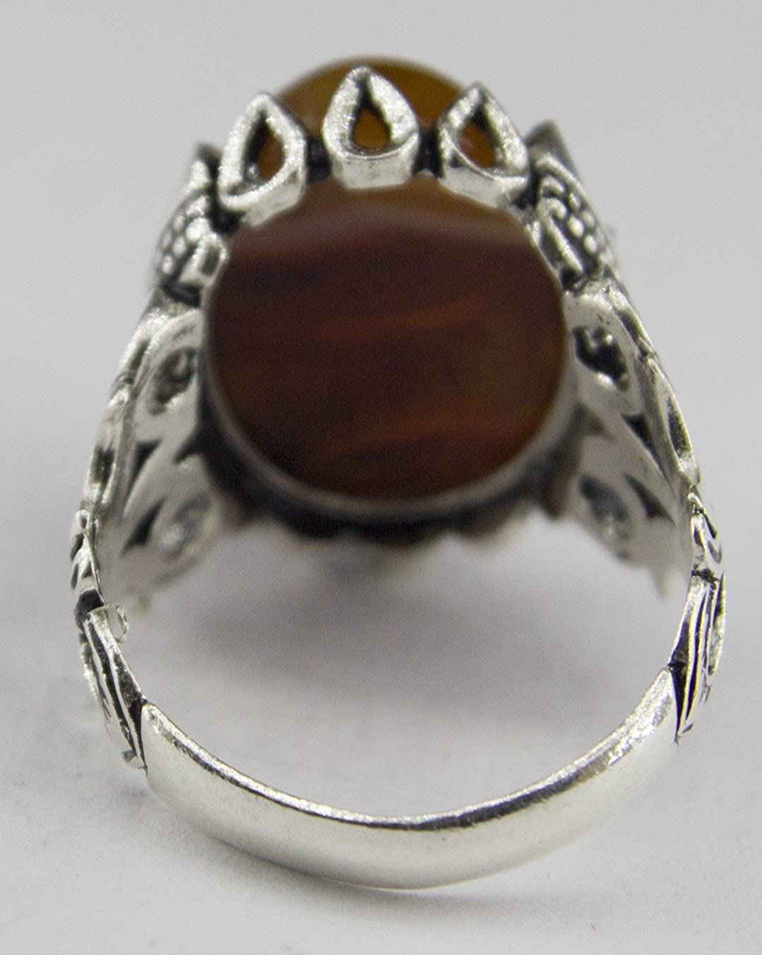 Falcon Jewelry Sterling Silver Men Ring Handmade Similar Patterned Stone Will be Sent Natural Red Agate Gemstone