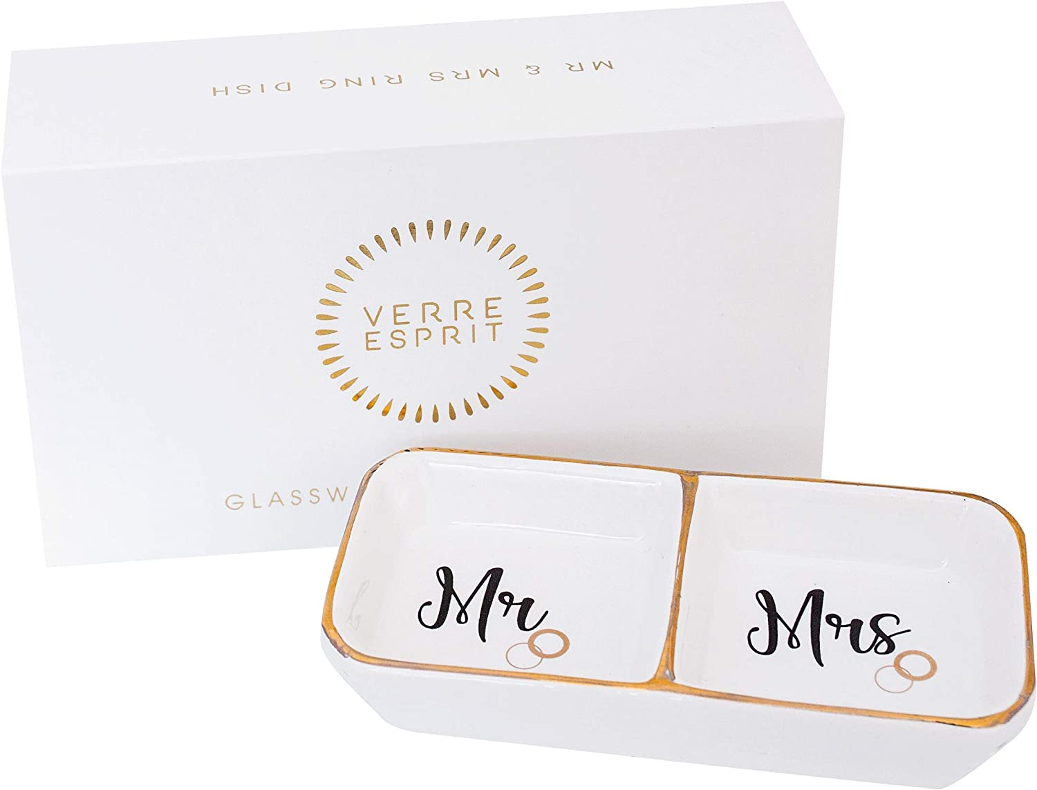 Verre Espirit Mr and Mrs Ring Holder Dish in Beautiful Gift Box – Ceramic Ring Dish – Ideal Engagement Gifts for Couples, Honeymoon Gifts, and Wedding Gifts for The Couple Unique