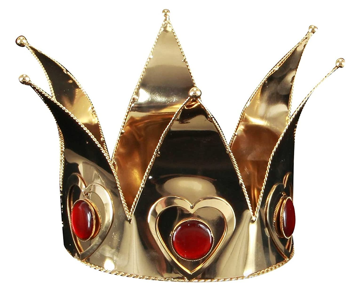 Mini Queen of Hearts Brass Acrylic Crown - DeluxeAdultCostumes.com