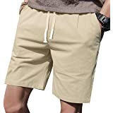 """LTIFONE Mens Casual Shorts Elastic Waist 7"""" Inseam with Drawstring Slim Fit Summer Pants with Pockets"""