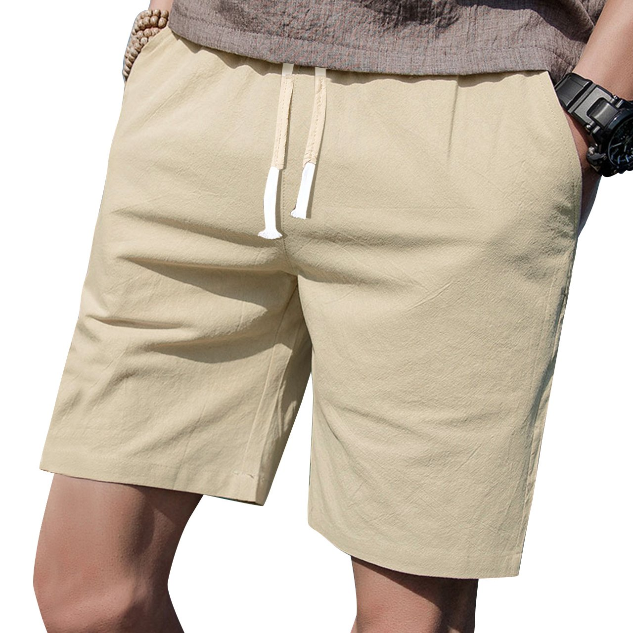 LTIFONE Mens 7'' Inseam Causal Beach Shorts with Elastic Waist Drawstring Lightweight Slim Fit Summer Short Pants with Pockets(Khaki,M)