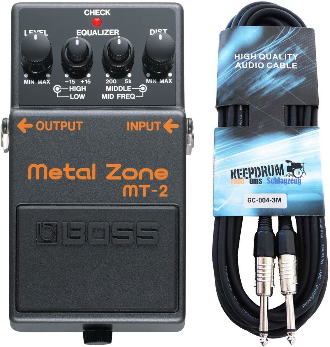 Boss MT de 2 metal Zona Pedal de distorsión Keepdrum Cable para guitarra