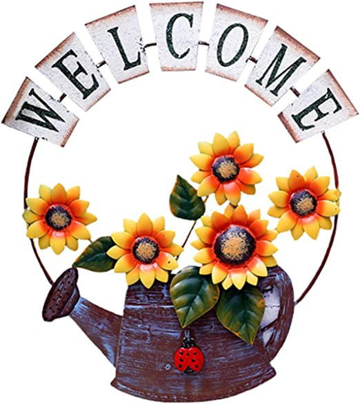 Welcome,rustic,sunflower,porch-sign,home decor,twine,wood sign,handpainted