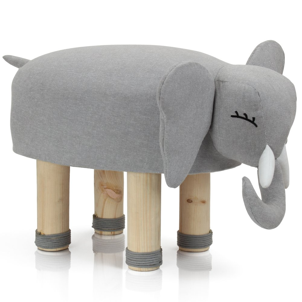 Lincove Elephant Ottoman Foot Stool-Plush Top Cover Comfort Strong Sturdy Legs-Vivid Adorable Animal-Like Features, Grey