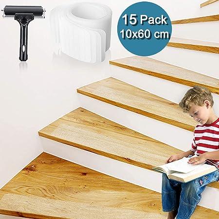 Bojim Cinta Antideslizante por escaleras Rayas Juego de Cintas Adhesivas Transparentes Esterillas para escaleras Piso Antideslizante Antideslizante con Rodillo Tiras Autoadhesivas Antideslizantes: Amazon.es: Hogar