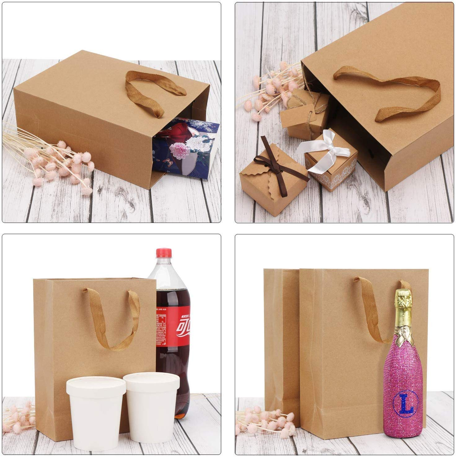 25pcs 9.8 * 5.1 * 12.6 Brown Kraft Gift Bags with Handles Wedding Party Bag Acidea Kraft Shopping Paper Bags Kraft Bags Retail Handle Bags Party Bags Merchandise Bag