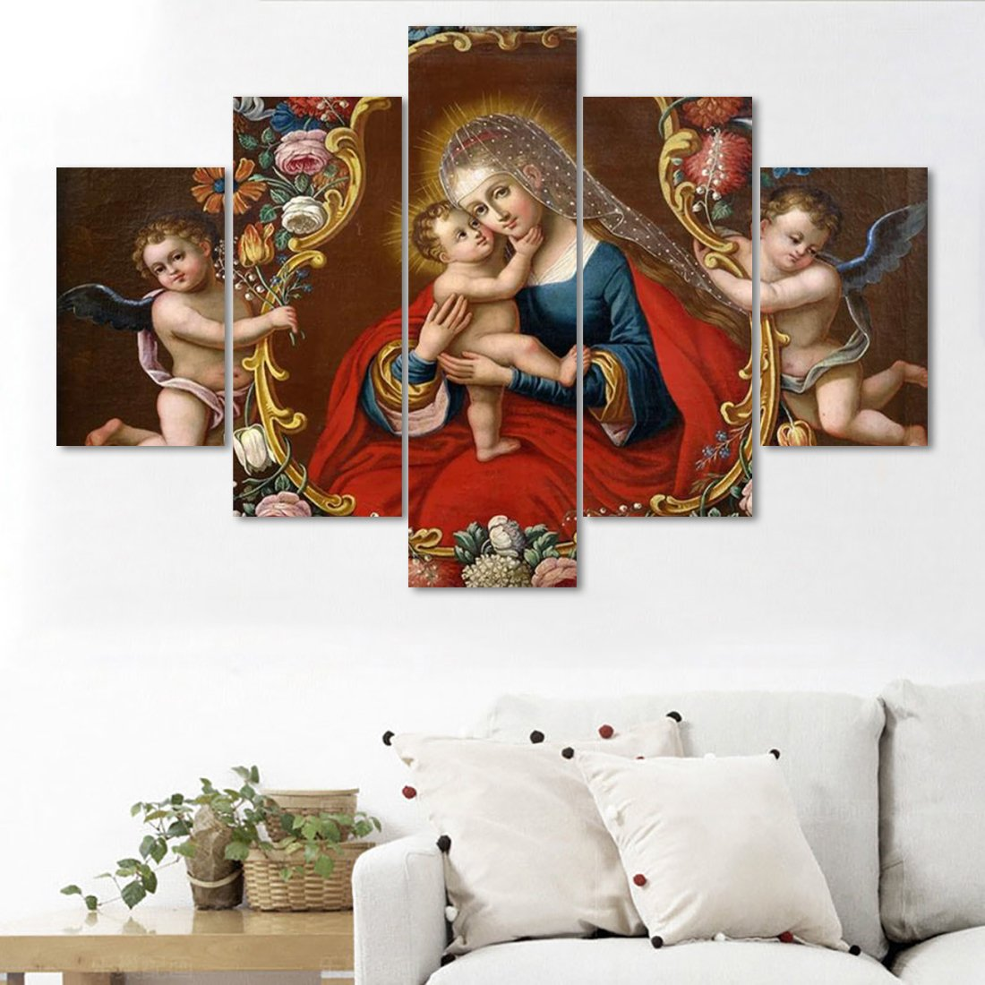 Painting on Canvas Modern Painting Wall Decor of Vigin Mary with baby Jesus Artwork Wall Art 5 PCS Home Decoration for Living Room Pictures HD Printed Framed Giclee Ready to Hang(60''Wx40''H)