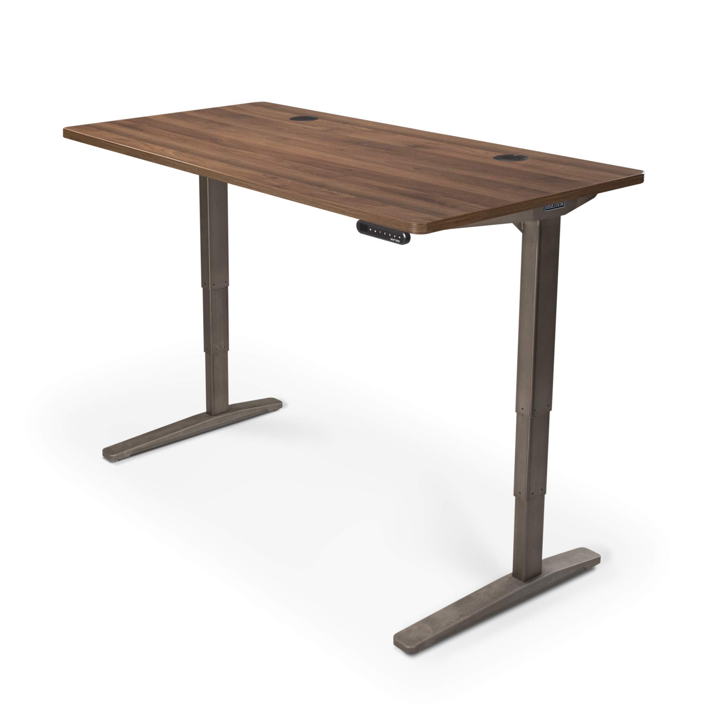UPLIFT Desk - V2 Standing Desk with Walnut GREENGUARD Laminate Desktop, Height Adjustable Frame (Industrial), Advanced Memory Keypad & Wire Grommets (Black), Bamboo Motion-X Board (80'' x 30'') by UPLIFT Desk