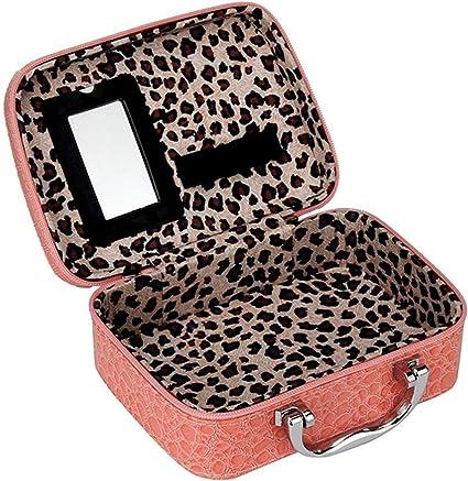 Estuche organizador efecto cocodrilo - Para guardar maquillaje / cosméticos / esmalte de Uñas rosa rosa: Amazon.es: Belleza