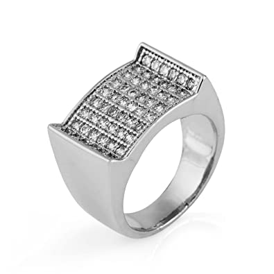b772ae0ba411e Amazon.com: MCSAYS Hip Hop Rings Bling Crystal Rapper Finger Ring ...