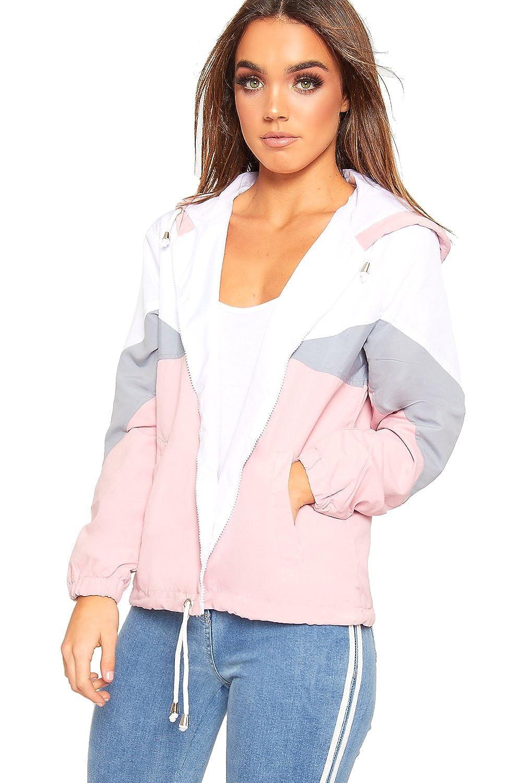 WearAll Womens Contrast Panel Hooded Windbreaker Jacket Ladies Zip Coat Top Long Sleeve 8-14