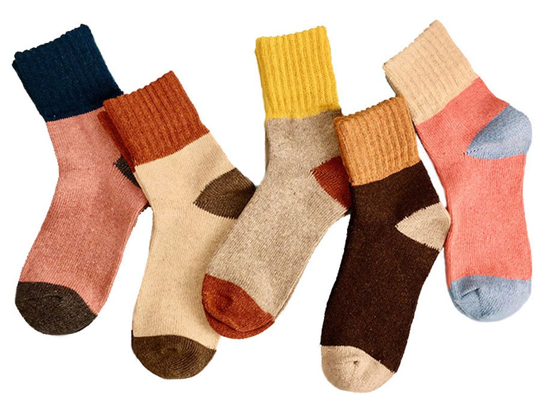 Yuhan Pretty 5 Pairs Womens Winter Warm Thick Knit Wool Cozy Vintage Crew Socks (Style 1, 5PCS)