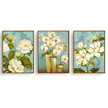Hepix Wooden Framed Canvas Wall Art Flowers Paintings for Living Room Bedroom Home Office Decorations with 3 Panels,13 x 17 inch