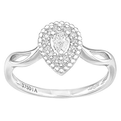 Naava 9ct White Gold Round 0.25ct Halo Diamond Engagement Ring ZUqdEBB3