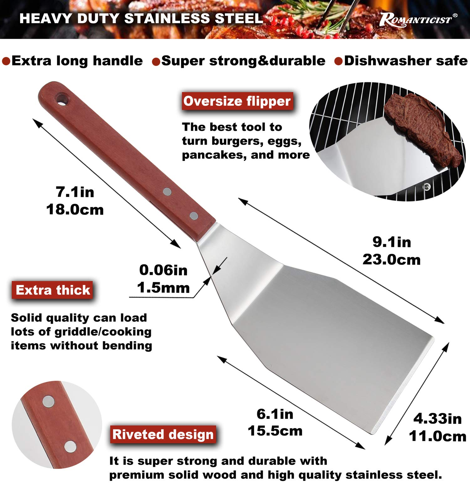 ROMANTICIST 8pc Griddle Accessories with 7'' Extra Long Deluxe Wood Handle - Premium Griddle Spatula Set in Carrying Bag for Flat Top Grill Hibachi - Perfect Grill Gift for Men Dad on Fathers Day by ROMANTICIST (Image #3)