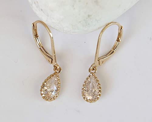 Classic Elegant Design Free Shipping Gold Plated Iced Blue CZ Tear Drop Dangle Hook Earrings