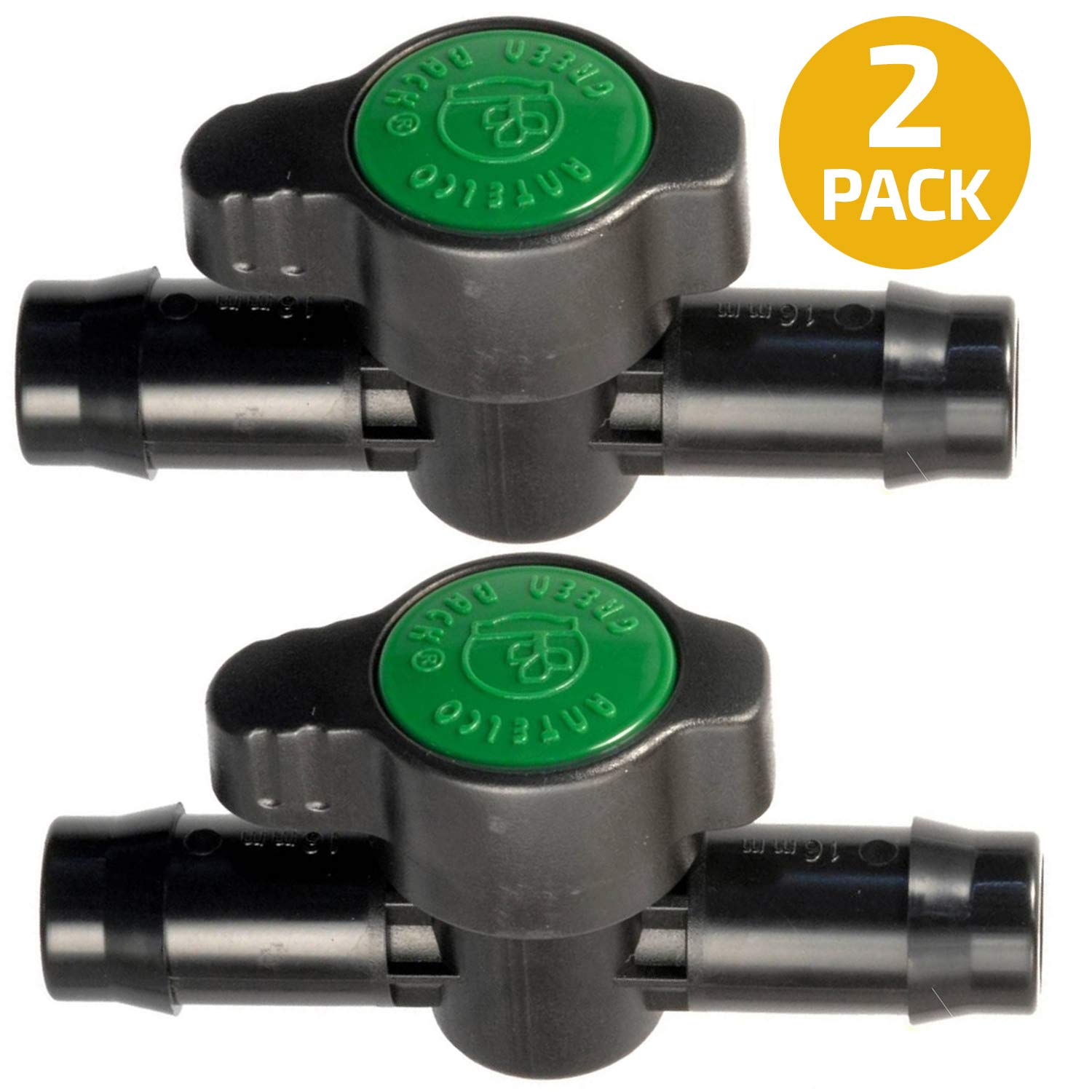 in-Line Coupling Barbed Ball Valve 16mm for 1/2 and 5/8 inch Tubing (.570 to .620 ID) 2-Pack - Regulate Water Flow/Shut Off in Aquariums, Hydroponics and Drip Irrigation by Habitech