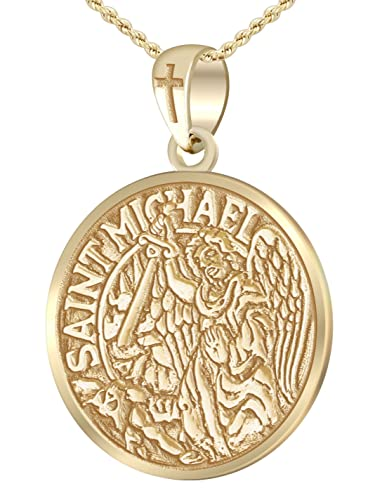 Mens heavy solid 10k yellow gold st saint michael medal round mens heavy solid 10k yellow gold st saint michael medal round pendant 15mm box aloadofball Images